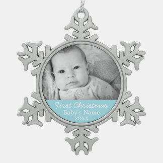 Baby's First Christmas Photo - Blue Boy Background Snowflake Pewter Christmas Ornament