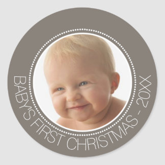 Baby's First Christmas Photo Custom Name and Year Classic Round Sticker