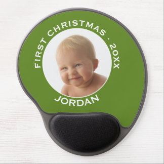 Baby's First Christmas Photo Custom Name and Year Gel Mouse Pad