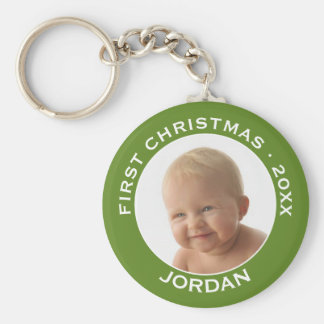 Baby's First Christmas Photo Custom Name and Year Keychain