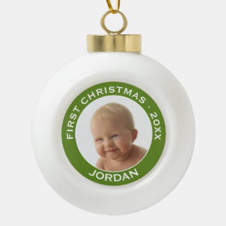 Baby's First Christmas Photo Custom Name and Year Ceramic Ball Christmas Ornament