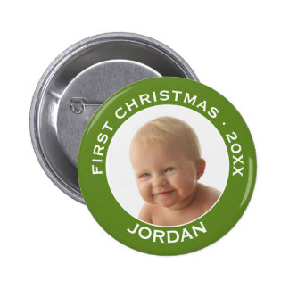 Baby's First Christmas Photo Custom Name and Year Pinback Button