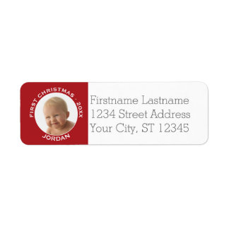 Baby's First Christmas Photo Custom Name and Year Return Address Label