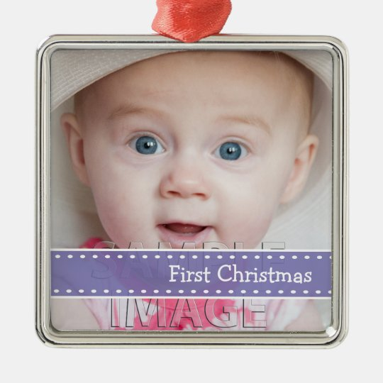 Babys First Christmas Photo Custom Ornament