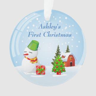 Baby's First Christmas Photo Cute Snowball Snowman Ornament