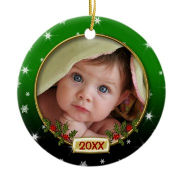 Christmas Themed Baby's First Christmas Photo Frame Ceramic Ornament