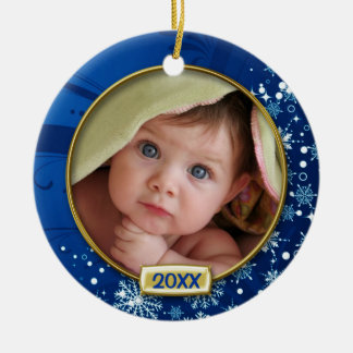 Baby's First Christmas Photo Frame Double-Sided Ceramic Round Christmas Ornament
