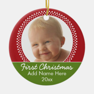Baby's First Christmas Photo Frame - Red and Green Ceramic Ornament