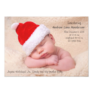 Baby's First Christmas - Photo Holiday Birth Annou Card