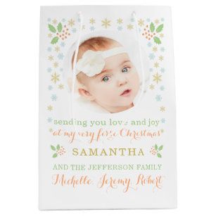 babys first christmas photo modern gift bag