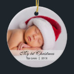 "Baby's  |  First Christmas Photo Ornament<br><div class=""desc"">This simply elegant photo baby ornament with the name,  date,  and photo. Perfect for a baby's first Christmas! Great gifts for new parents!</div>"