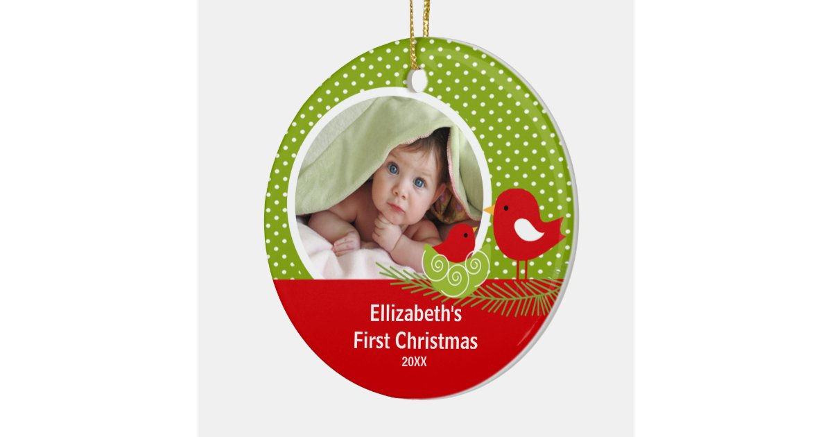 Babys First Christmas Photo Ornament Baby Bird | Zazzle