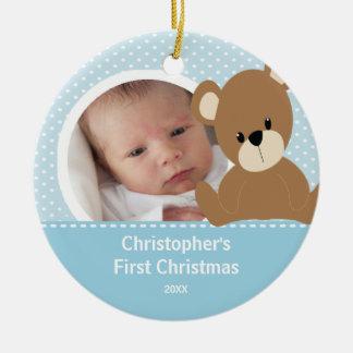 Babys First Christmas Photo Ornament Boy Bear