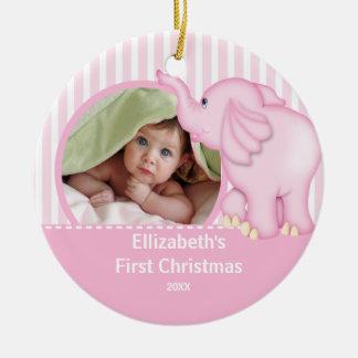 Babys First Christmas Photo Ornament Elephant