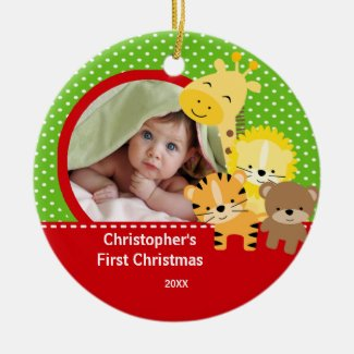 Babys First Christmas Photo Ornament Giraffe