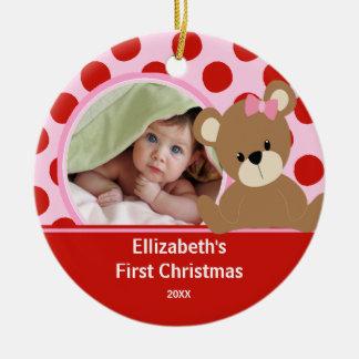 Babys First Christmas Photo Ornament Girl Bear