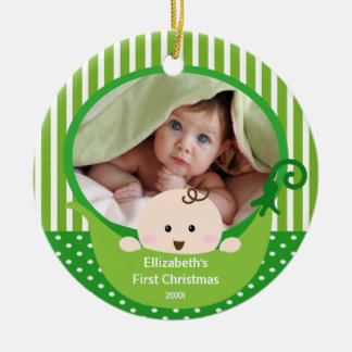 Babys First Christmas Photo Ornament Little Pea