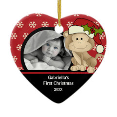 Babys First Christmas Photo Ornament Monkey