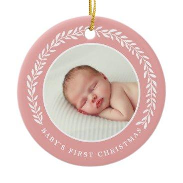 Christmas Themed Baby's First Christmas Photo Ornament   Peach