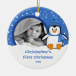 Babys First Christmas Photo Ornament Penguin