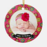 Baby's First Christmas Photo Ornament / Pink