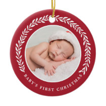 Baby's First Christmas Photo Ornament | Red