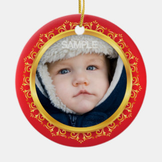 Babys first christmas photo ornament, red and gold ceramic ornament