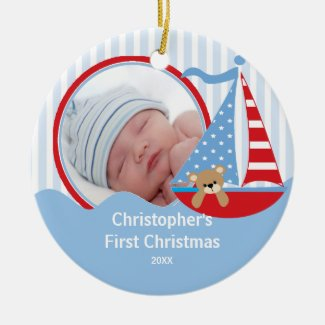 Babys First Christmas Photo Ornament Sailboat