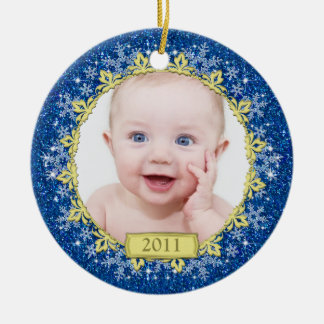 Baby's First Christmas Photo Ornament - Snowflakes