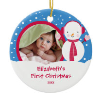 Baby's First Christmas Photo Ornament Snowman