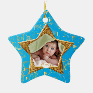 Baby's First Christmas Photo Ornament Star Blue