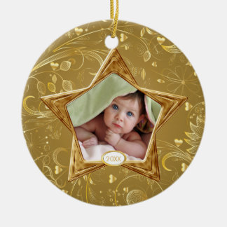 Baby's First Christmas Photo Ornament Star Gold