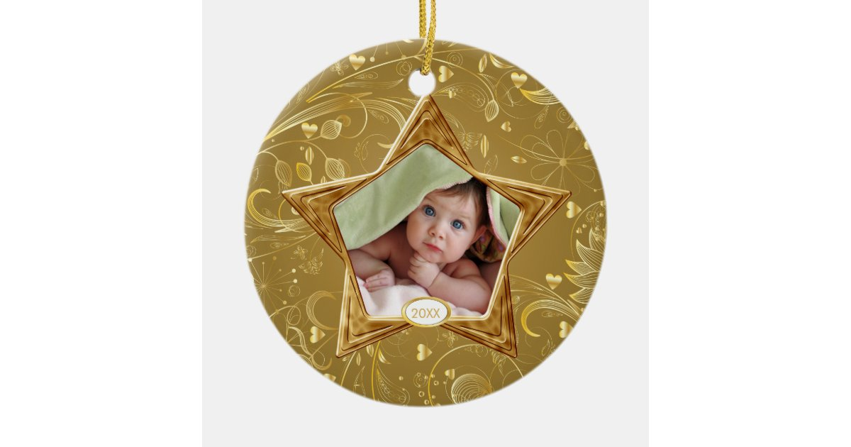 Baby s first christmas photo ornament star gold zazzle
