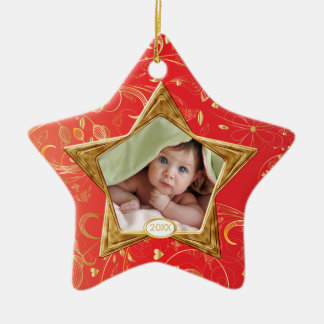Baby's First Christmas Photo Ornament Star Red