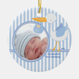 Babys First Christmas Photo Ornament Stork Boy