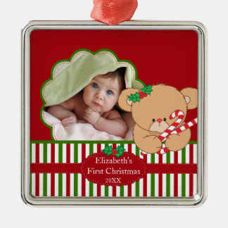 Baby's First Christmas Photo Ornament Sweet Bear