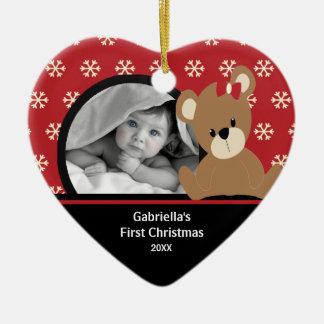 Babys First Christmas Photo Ornament Teddy Bear