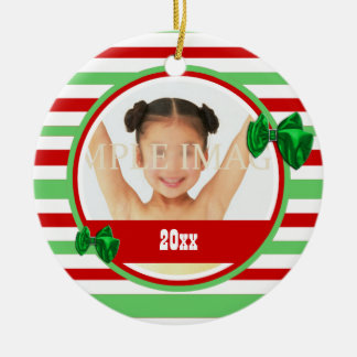 Baby's first Christmas photo PERSONALIZE Double-Sided Ceramic Round Christmas Ornament