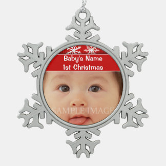 Baby's first christmas photo personalize ornament