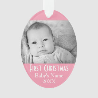 Baby's First Christmas Photo Pink Girl Background