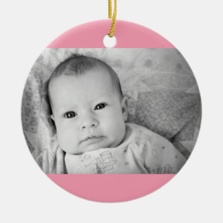 Baby's First Christmas Photo Pink Girl Background Ceramic Ornament