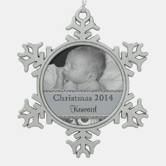 Baby's First Christmas Photo Silver Snowflake Pewter Christmas Ornament