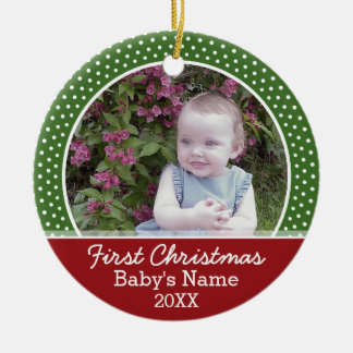 Baby's First Christmas Photo - Single Sided Ceramic Ornament