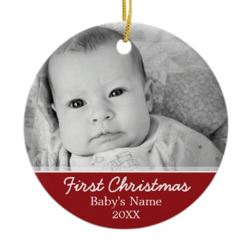 Christmas Themed Baby's First Christmas Photo - Single Sided Ceramic Ornament