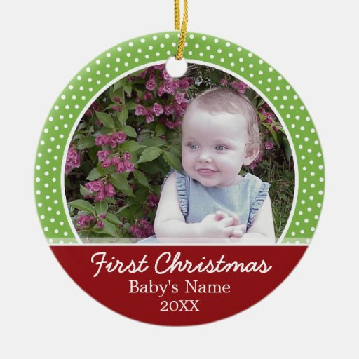 Baby's First Christmas Photo - Single Sided Double-Sided Ceramic Round Christmas Ornament