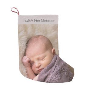babys first christmas photo small christmas stocking