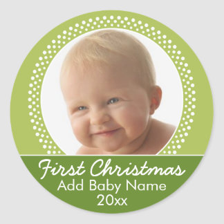 Baby's First Christmas Photo Template Classic Round Sticker