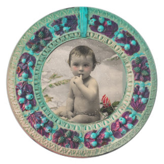 BABY'S FIRST CHRISTMAS PHOTO TEMPLATE MELAMINE PLATE
