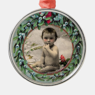 BABY'S FIRST CHRISTMAS PHOTO TEMPLATE METAL ORNAMENT