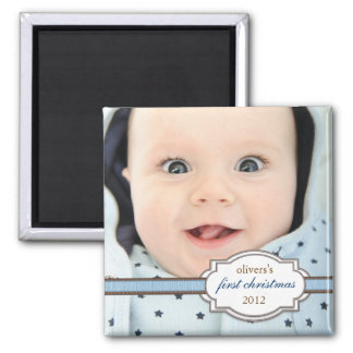 Baby's First Christmas Photo with Faux Ribbon Blue Refrigerator Magnet